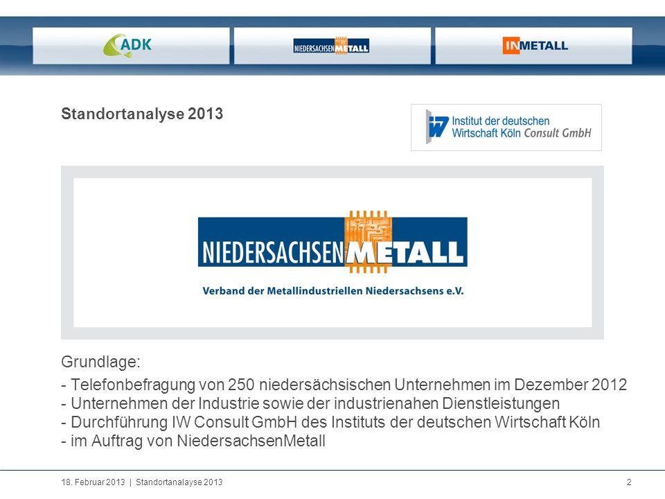 Standortanalyse 2013 Grundlage: