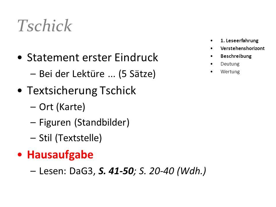 Tschick Statement erster Eindruck Textsicherung Tschick Hausaufgabe