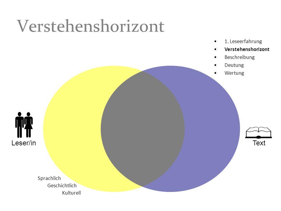    Verstehenshorizont Leser/in Text 1. Leseerfahrung