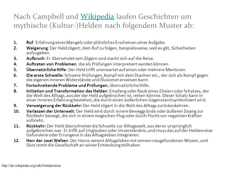 Nach Campbell und Wikipedia laufen Geschichten um mythische (Kultur-)Helden nach folgendem Muster ab: