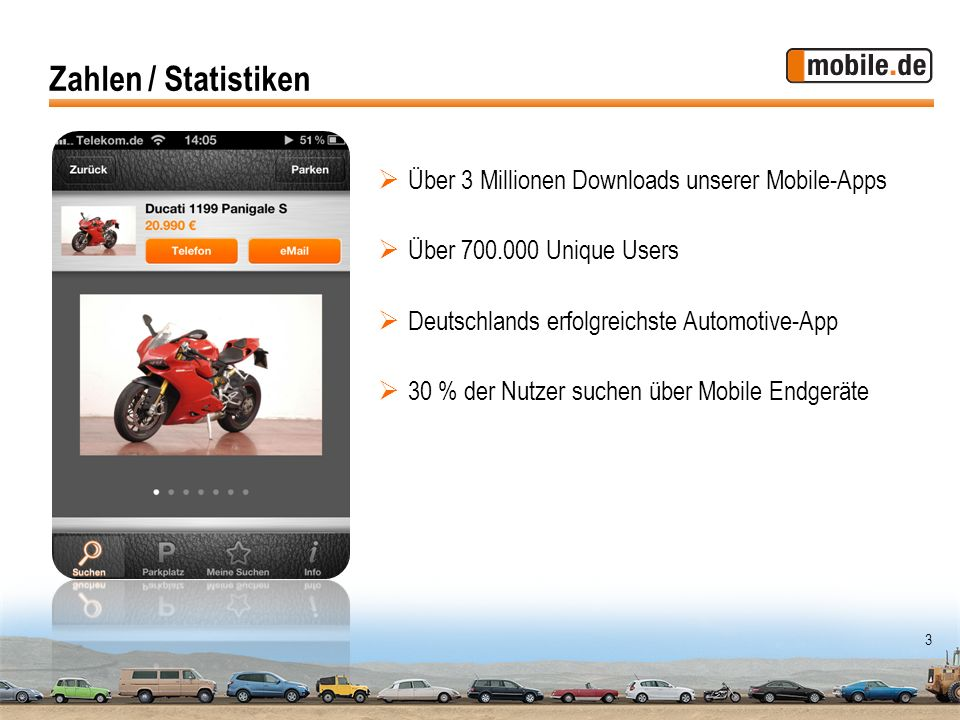 Zahlen / Statistiken Über 3 Millionen Downloads unserer Mobile-Apps
