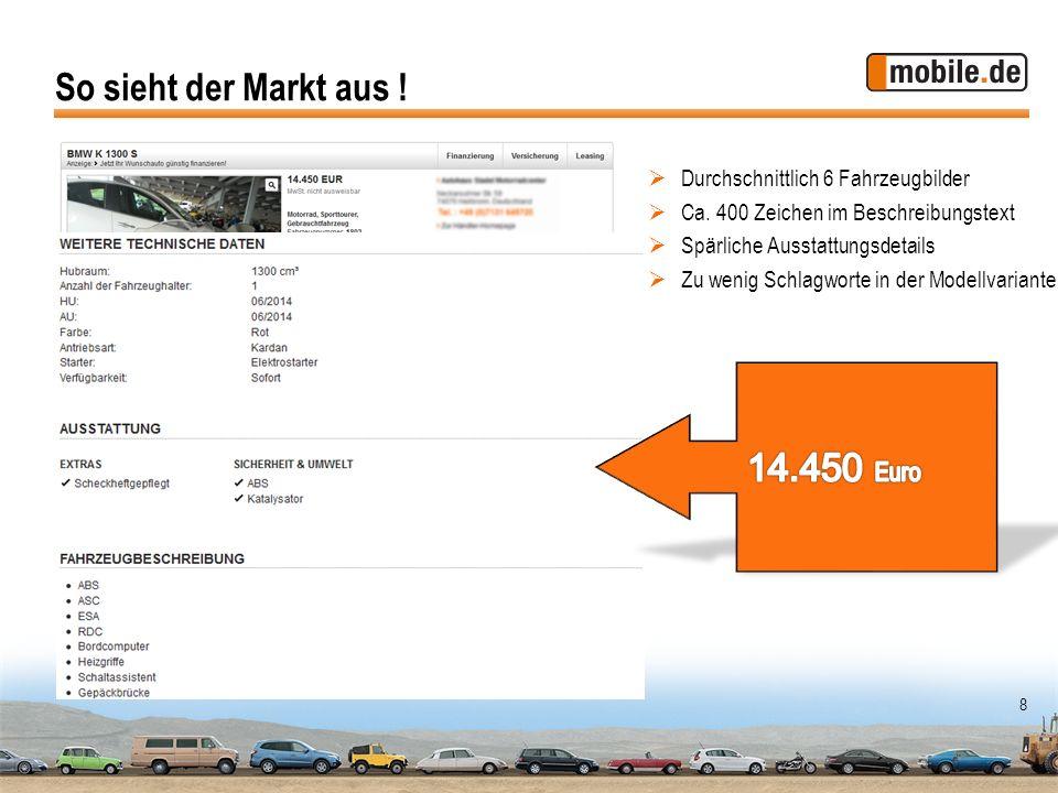 So sieht der Markt aus ! 14.450 Euro Durchschnittlich 6 Fahrzeugbilder