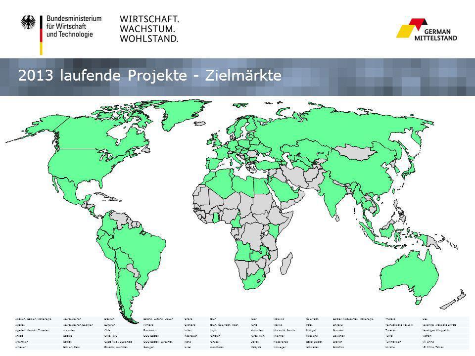 2013 laufende Projekte - Zielmärkte