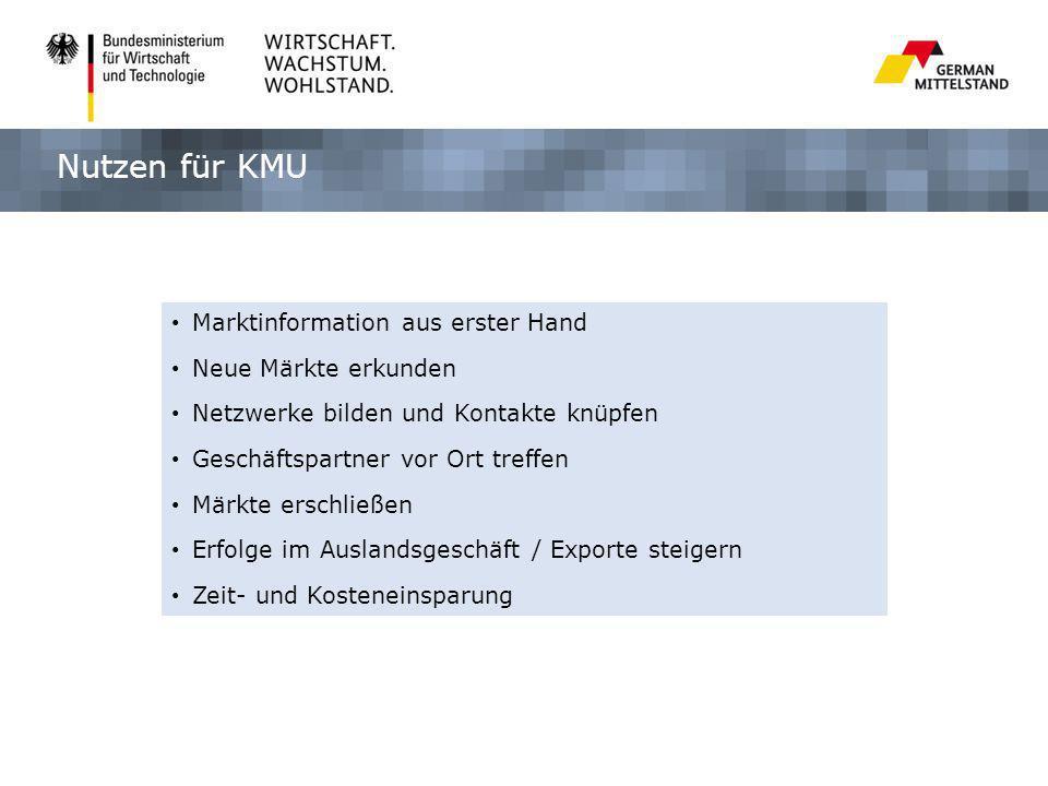 Nutzen für KMU Marktinformation aus erster Hand Neue Märkte erkunden