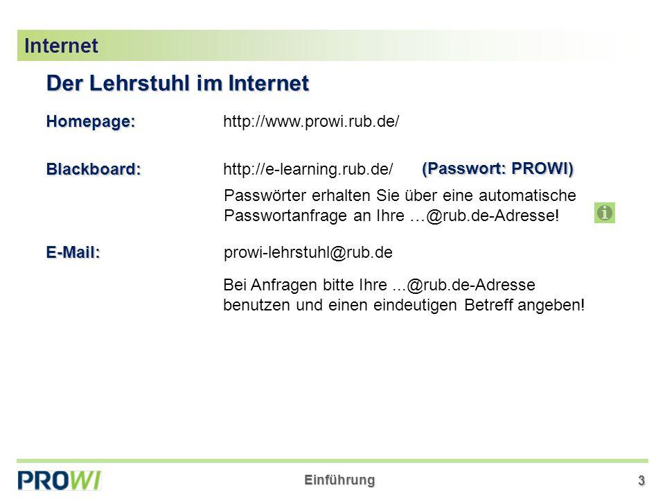 Der Lehrstuhl im Internet