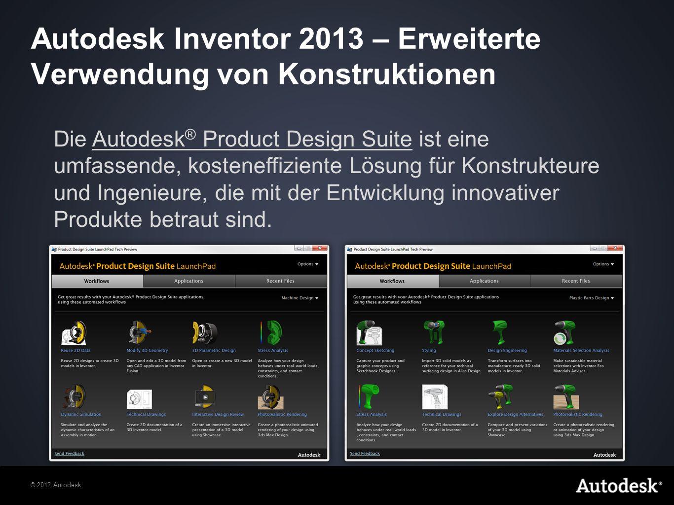 Autodesk Inventor 2013 – Erweiterte Verwendung von Konstruktionen