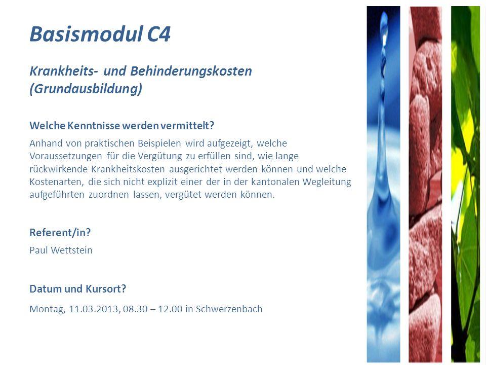 Basismodul C4 Krankheits- und Behinderungskosten (Grundausbildung)