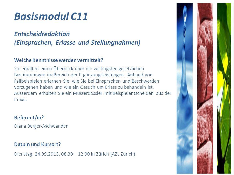 Basismodul C11 Entscheidredaktion (Einsprachen, Erlasse und Stellungnahmen)