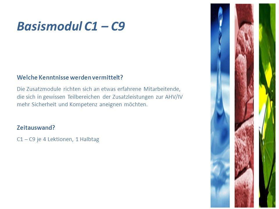 Basismodul C1 – C9 Welche Kenntnisse werden vermittelt Zeitauswand