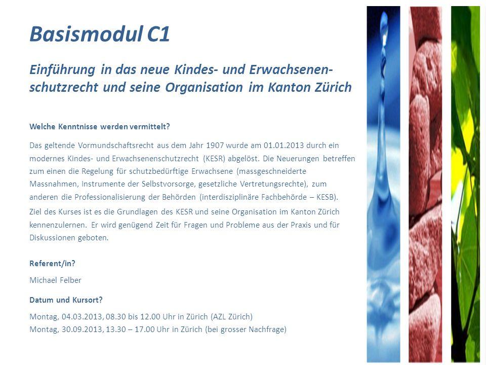 Basismodul C1 Einführung in das neue Kindes- und Erwachsenen- schutzrecht und seine Organisation im Kanton Zürich