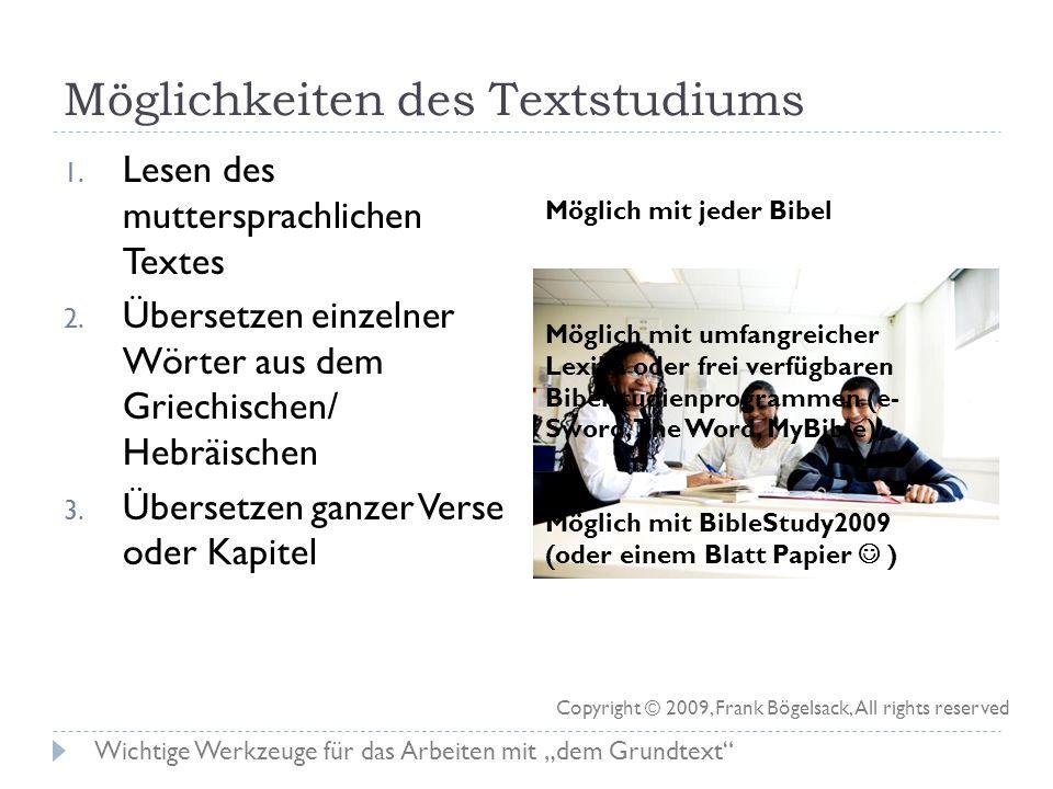 Möglichkeiten des Textstudiums