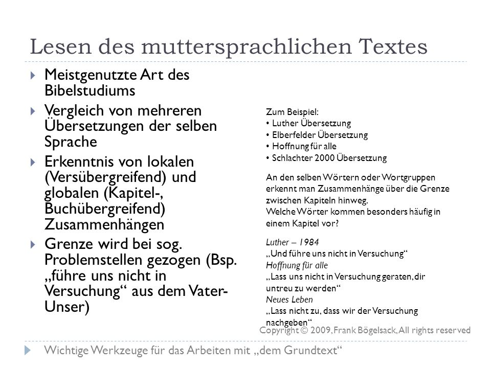 Lesen des muttersprachlichen Textes