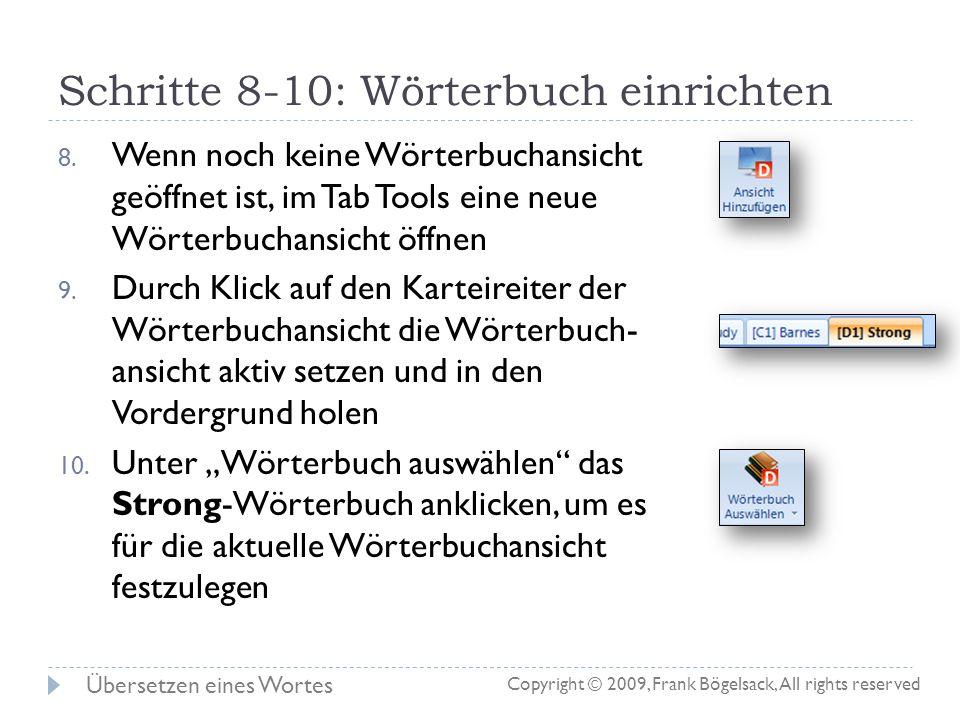 Schritte 8-10: Wörterbuch einrichten