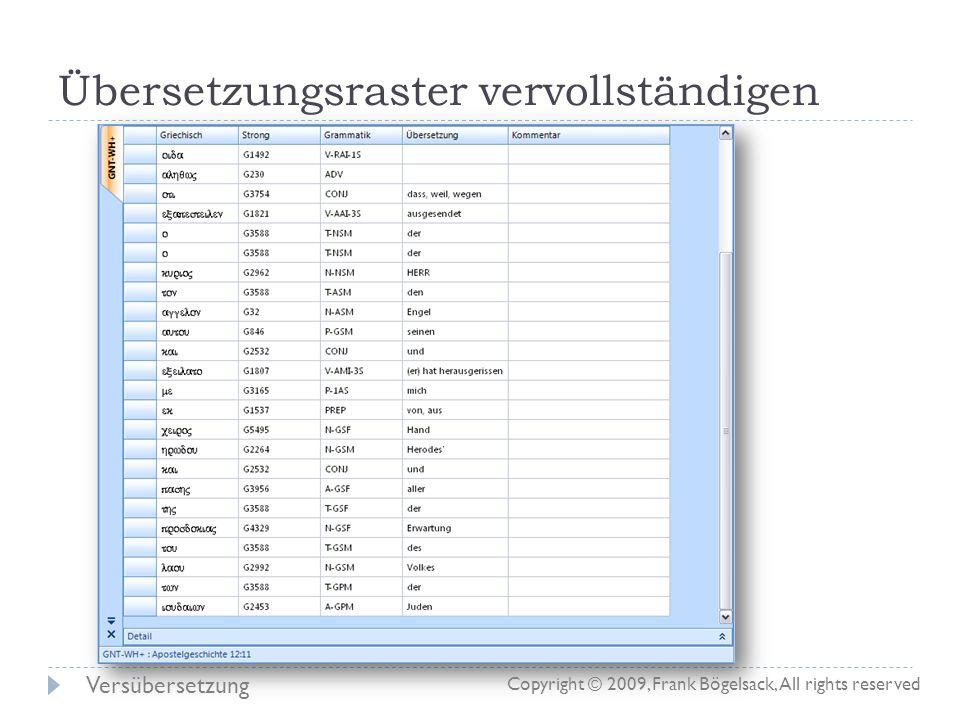 Übersetzungsraster vervollständigen