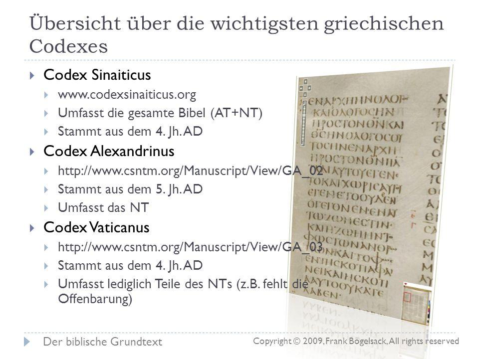 Übersicht über die wichtigsten griechischen Codexes