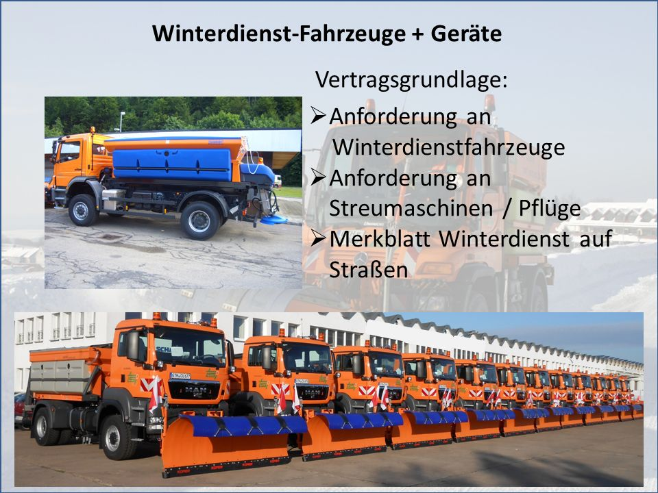 Winterdienst-Fahrzeuge + Geräte