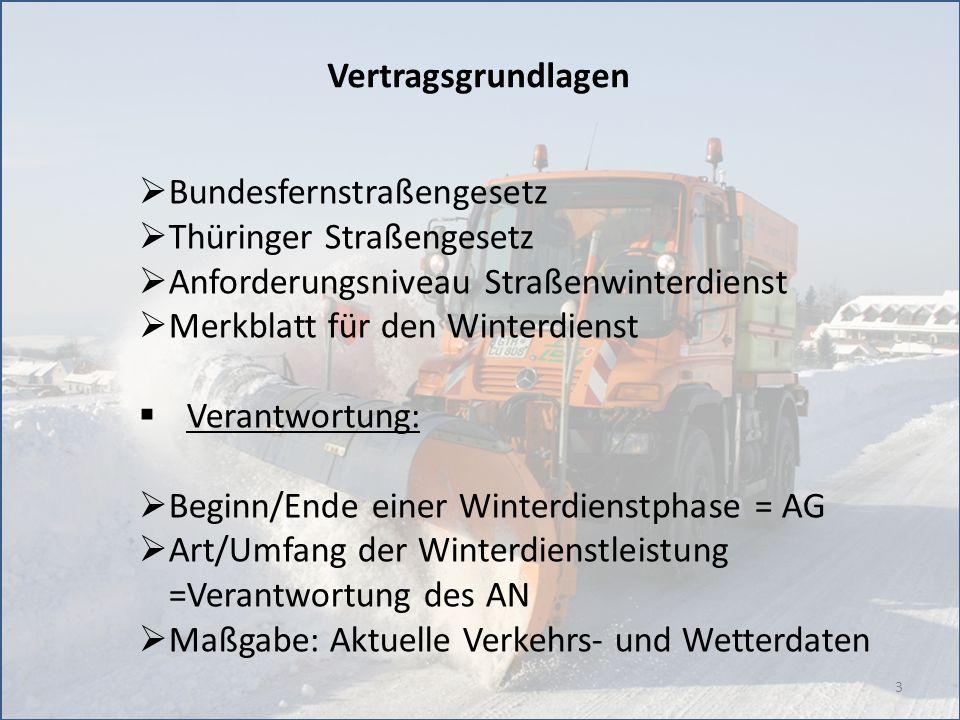Vertragsgrundlagen Bundesfernstraßengesetz. Thüringer Straßengesetz. Anforderungsniveau Straßenwinterdienst.