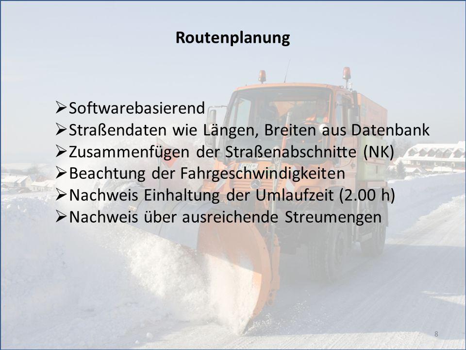 Routenplanung Softwarebasierend. Straßendaten wie Längen, Breiten aus Datenbank. Zusammenfügen der Straßenabschnitte (NK)