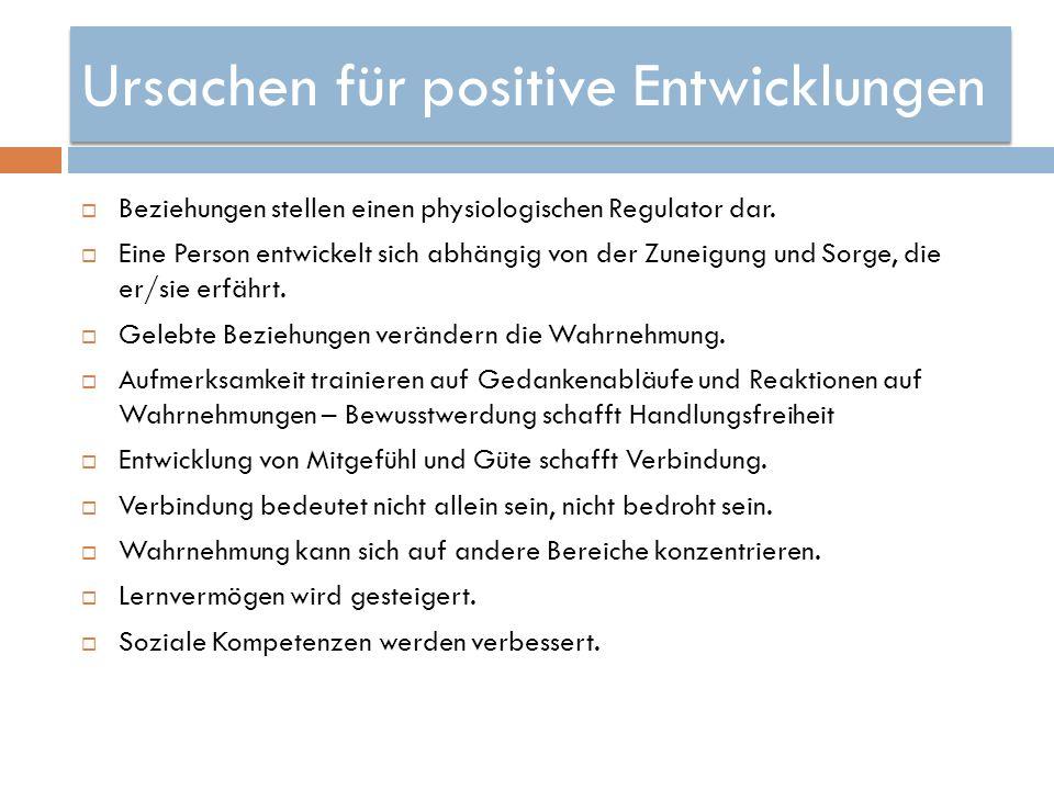 Ursachen für positive Entwicklungen