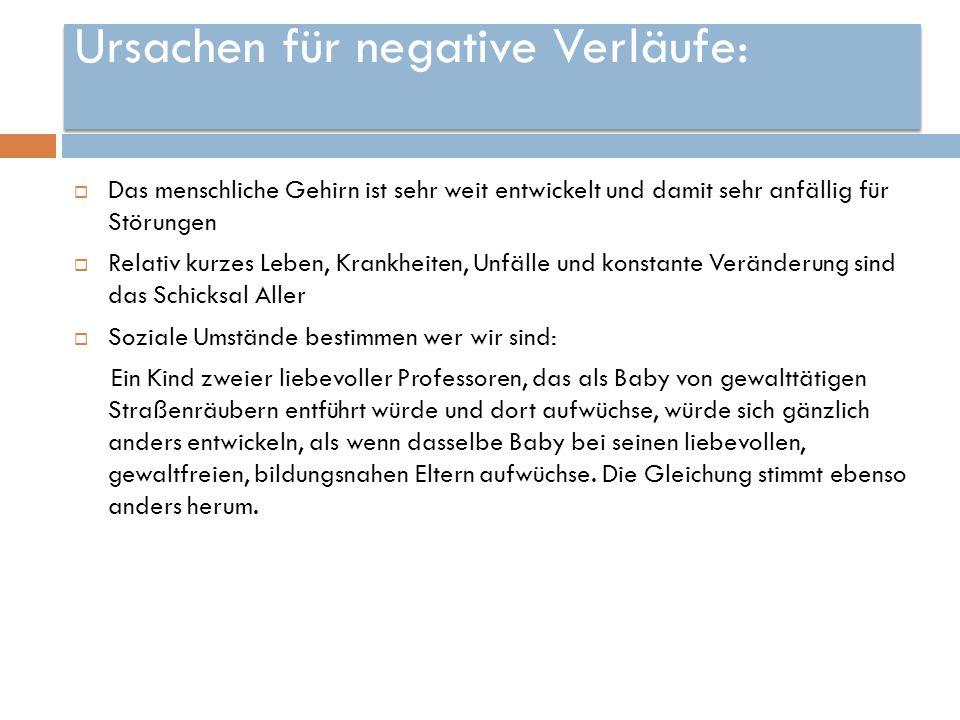 Ursachen für negative Verläufe: