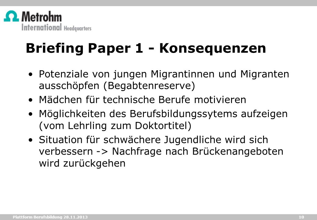 Briefing Paper 1 - Konsequenzen
