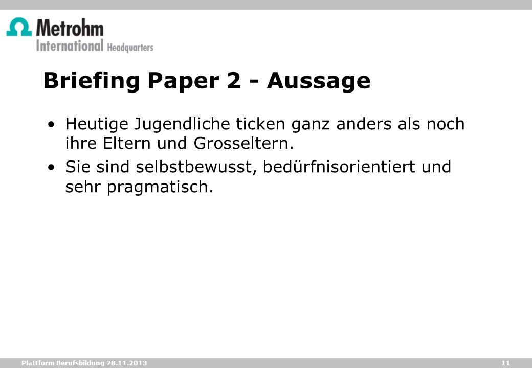 Briefing Paper 2 - Aussage