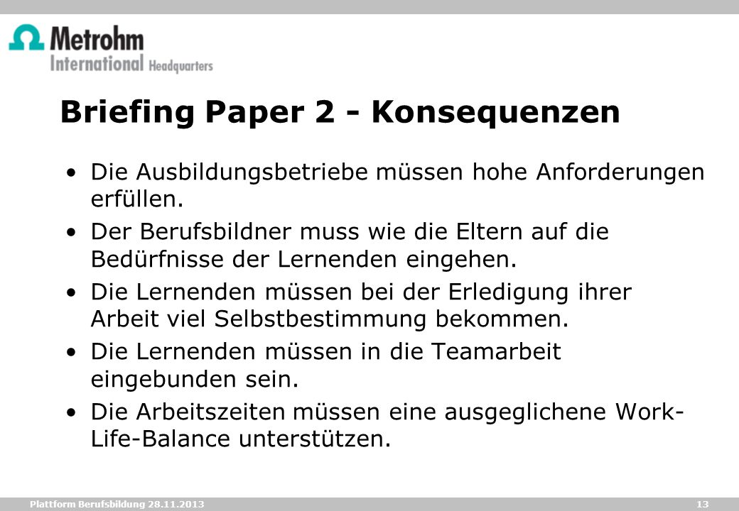 Briefing Paper 2 - Konsequenzen