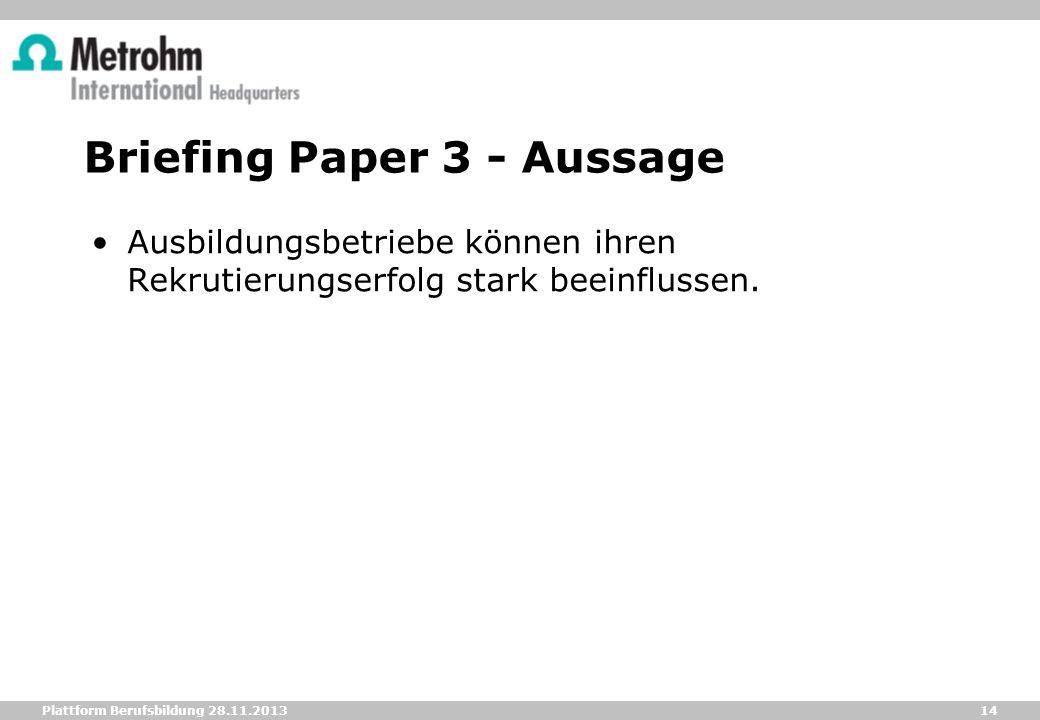 Briefing Paper 3 - Aussage