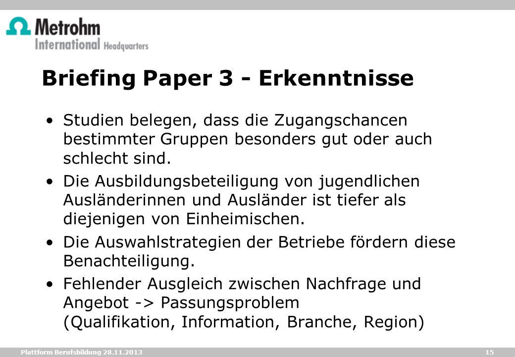 Briefing Paper 3 - Erkenntnisse