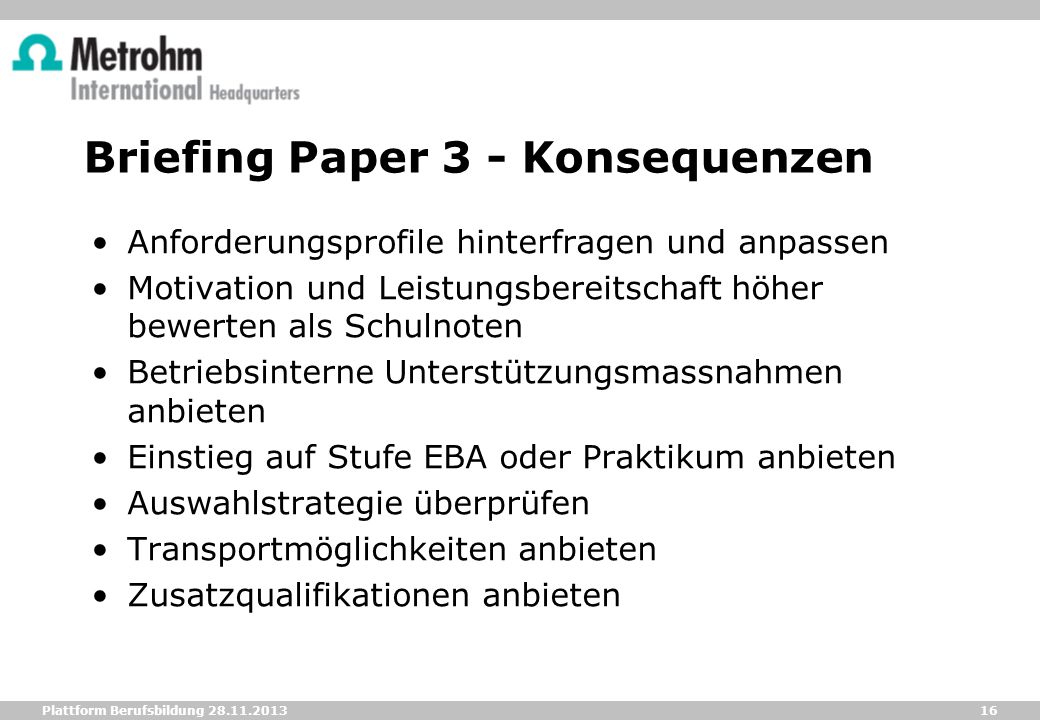 Briefing Paper 3 - Konsequenzen