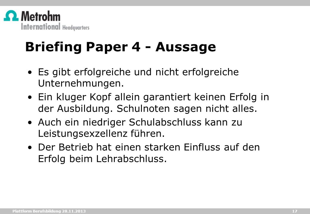 Briefing Paper 4 - Aussage