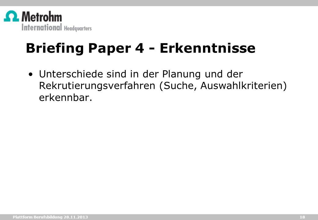 Briefing Paper 4 - Erkenntnisse