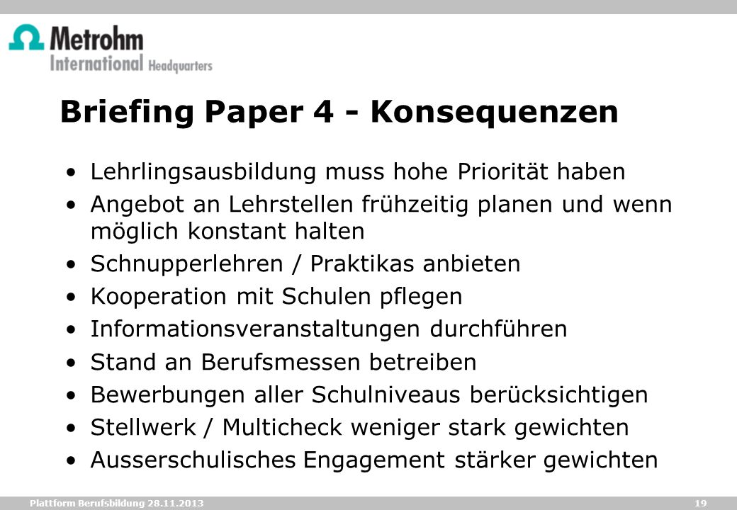 Briefing Paper 4 - Konsequenzen