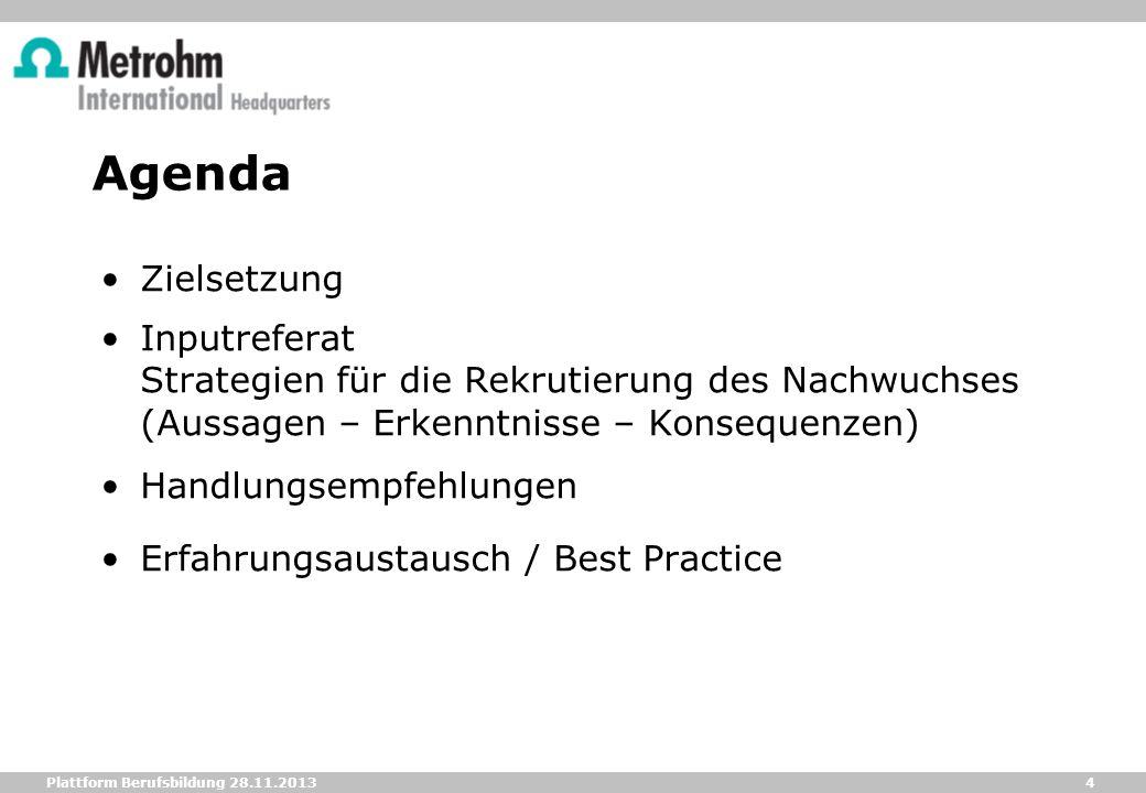 Agenda Zielsetzung. Inputreferat Strategien für die Rekrutierung des Nachwuchses (Aussagen – Erkenntnisse – Konsequenzen)