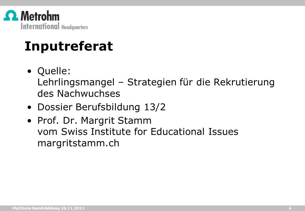 Inputreferat Quelle: Lehrlingsmangel – Strategien für die Rekrutierung des Nachwuchses. Dossier Berufsbildung 13/2.