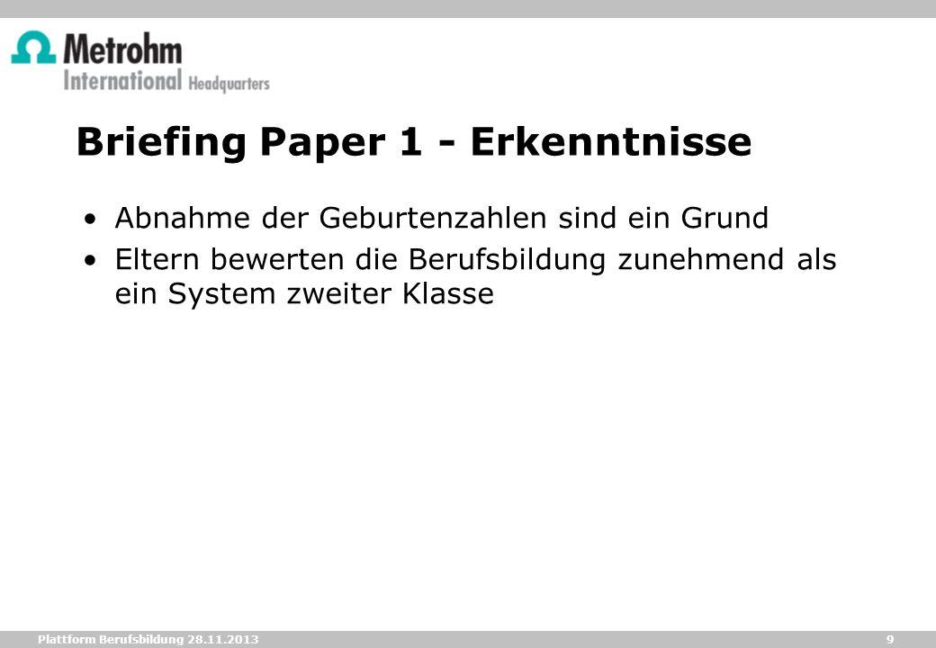 Briefing Paper 1 - Erkenntnisse