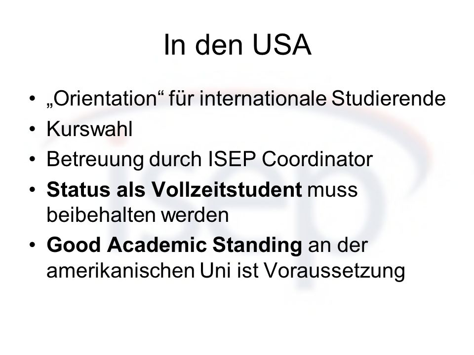 "In den USA ""Orientation für internationale Studierende Kurswahl"