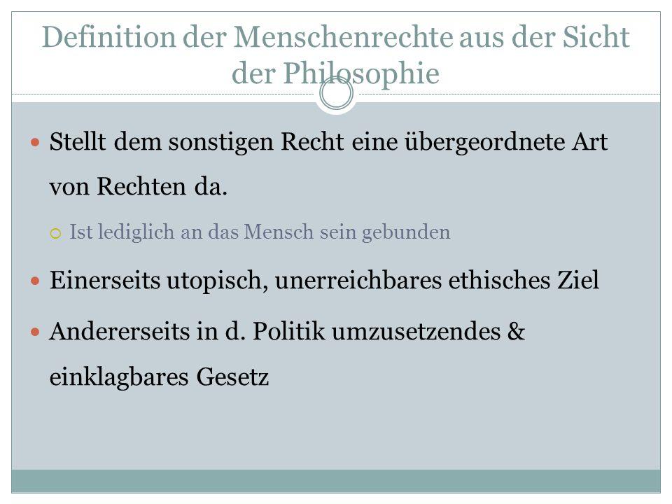 Definition der Menschenrechte aus der Sicht der Philosophie