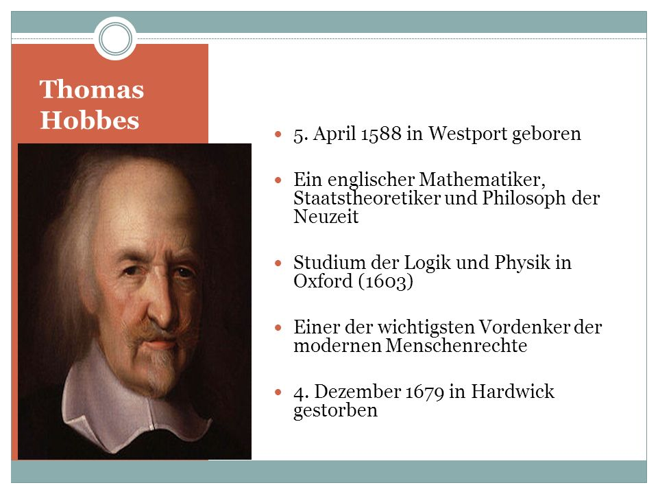 Thomas Hobbes 5. April 1588 in Westport geboren