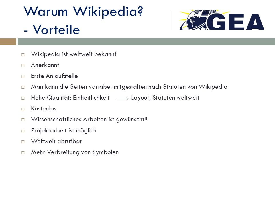 Warum Wikipedia - Vorteile