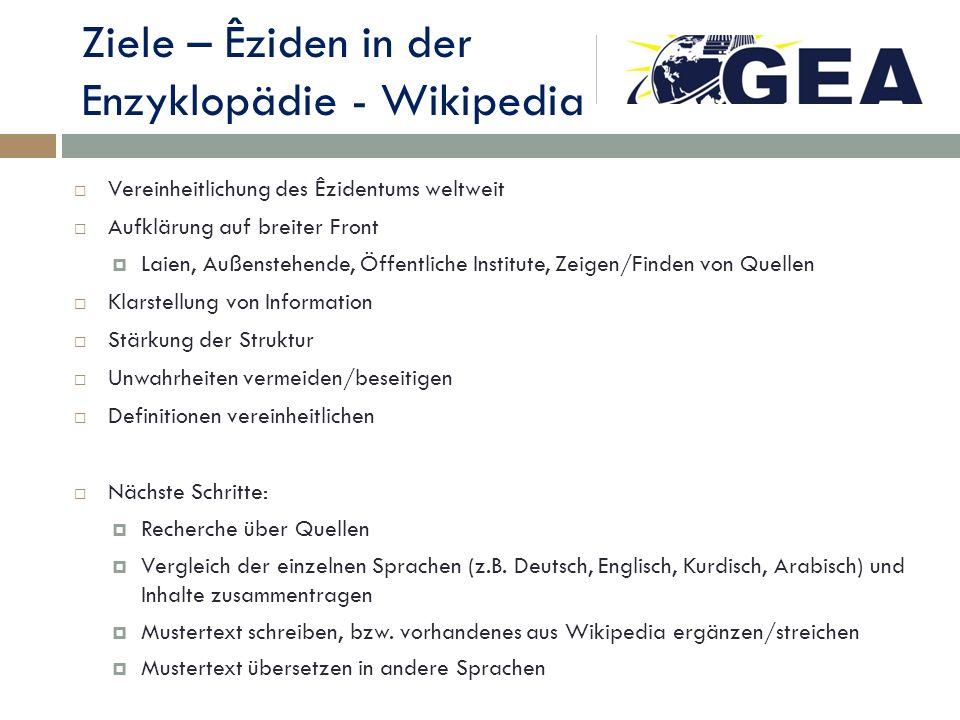 Ziele – Êziden in der Enzyklopädie - Wikipedia