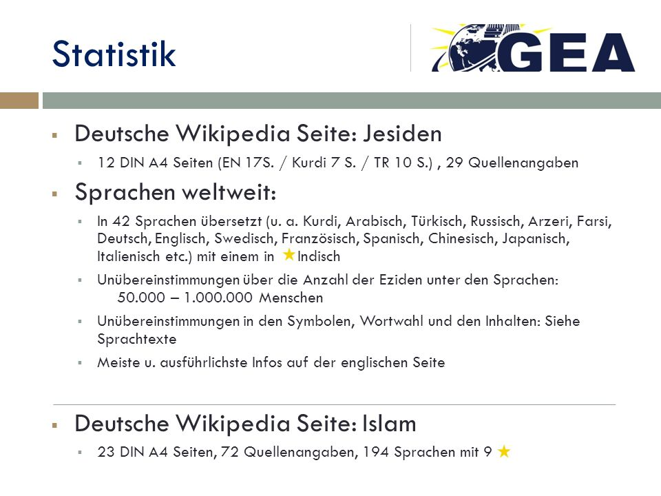 Statistik Deutsche Wikipedia Seite: Jesiden Sprachen weltweit: