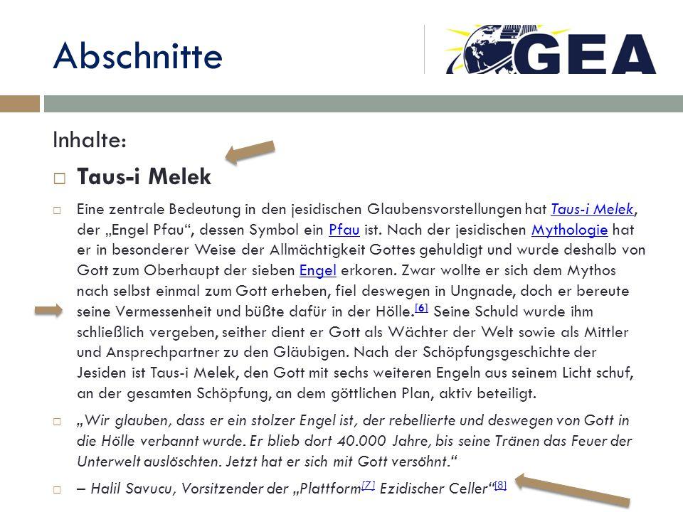 Abschnitte Inhalte: Taus-i Melek