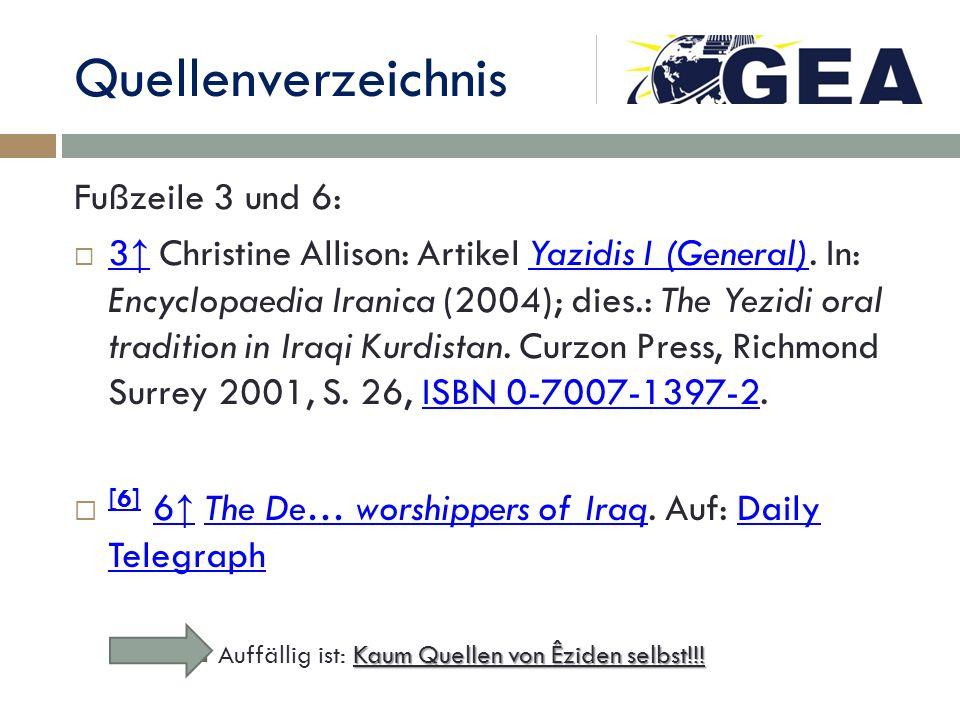 Quellenverzeichnis Fußzeile 3 und 6: