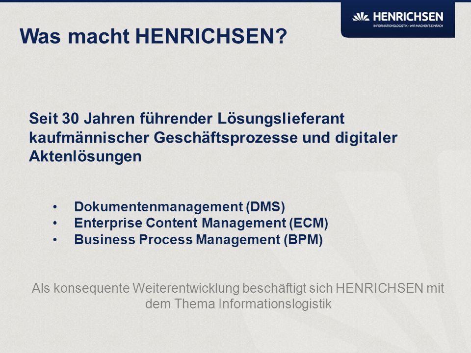 Agenda Kurzvorstellung HENRICHSEN AG