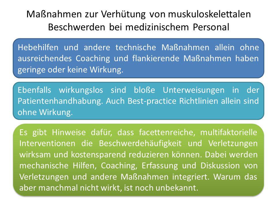 Maßnahmen zur Verhütung von muskuloskelettalen Beschwerden bei medizinischem Personal