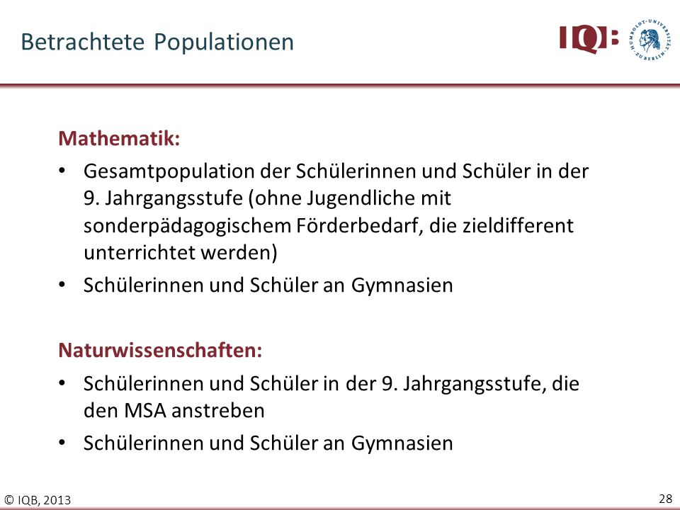 Betrachtete Populationen
