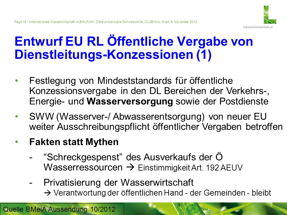 Entwurf EU RL Öffentliche Vergabe von Dienstleitungs-Konzessionen (1)