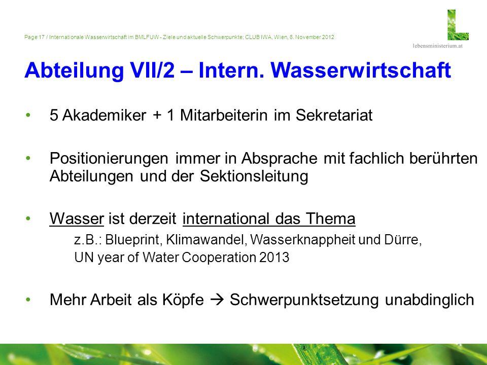Abteilung VII/2 – Intern. Wasserwirtschaft