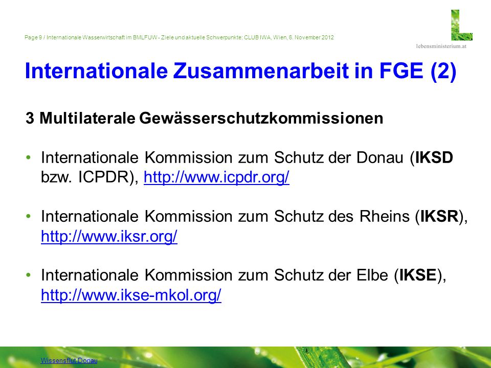 Internationale Zusammenarbeit in FGE (2)